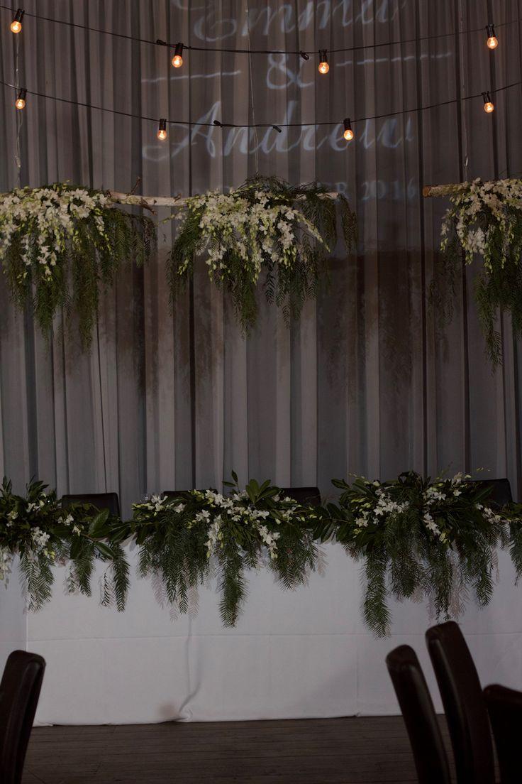 Foilage Bridal Table and Foilage Ceiling Installation