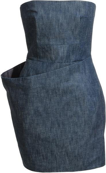 acneStrapless Denim Dress - Lyst