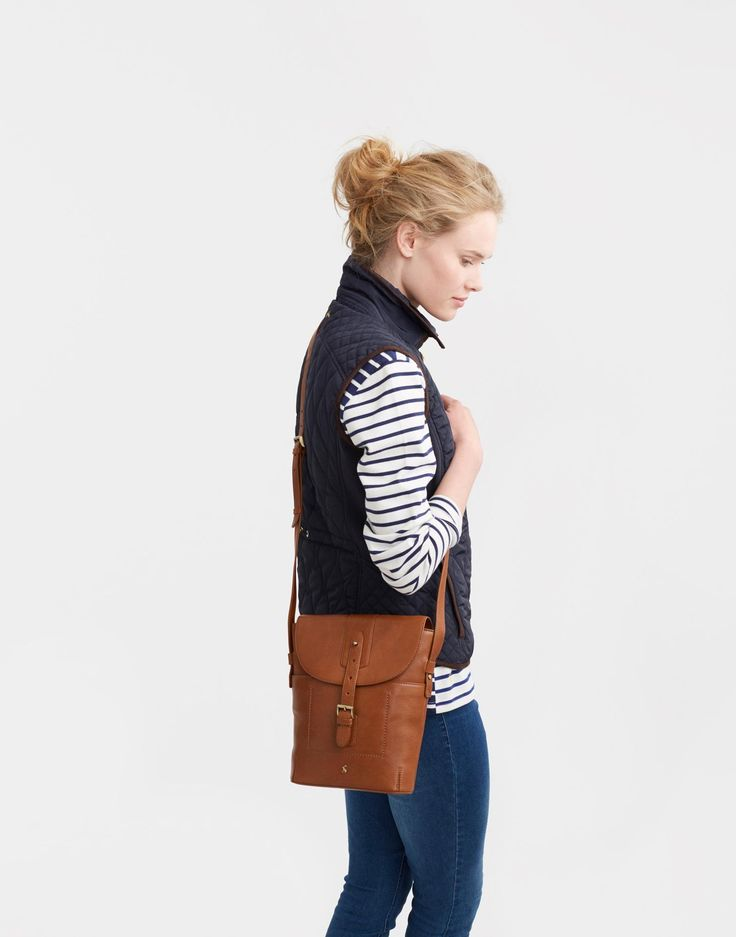Tourer Chestnut Leather Bag , Size One Size | Joules US