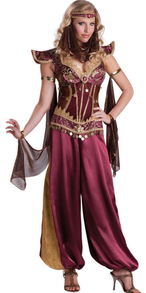 Arabian Princess Costume includes:      Jumpsuit     Headpiece     Attached arm drapes