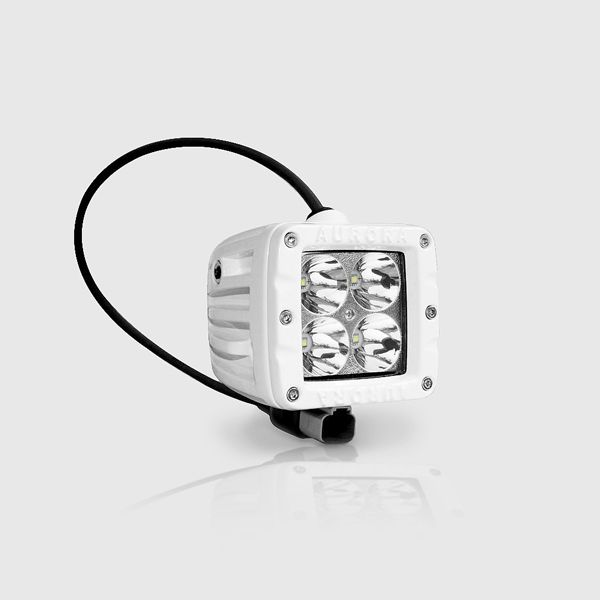 Premium 2 Inch Pod Cube #MarineLEDLight Spot Beam for #boats, #yachts, #sailboats, airboats, commercial #ships, #fishing boats, pontoon boats...  White Housing, four 10 watt CREE XTE, 40 Watts pushing 3200 Lumens with an astounding 780 Meter Beam Throw!  https://www.mudlifeled.com/product/aurora-2-inch-marine-white-spot-beam-40w/