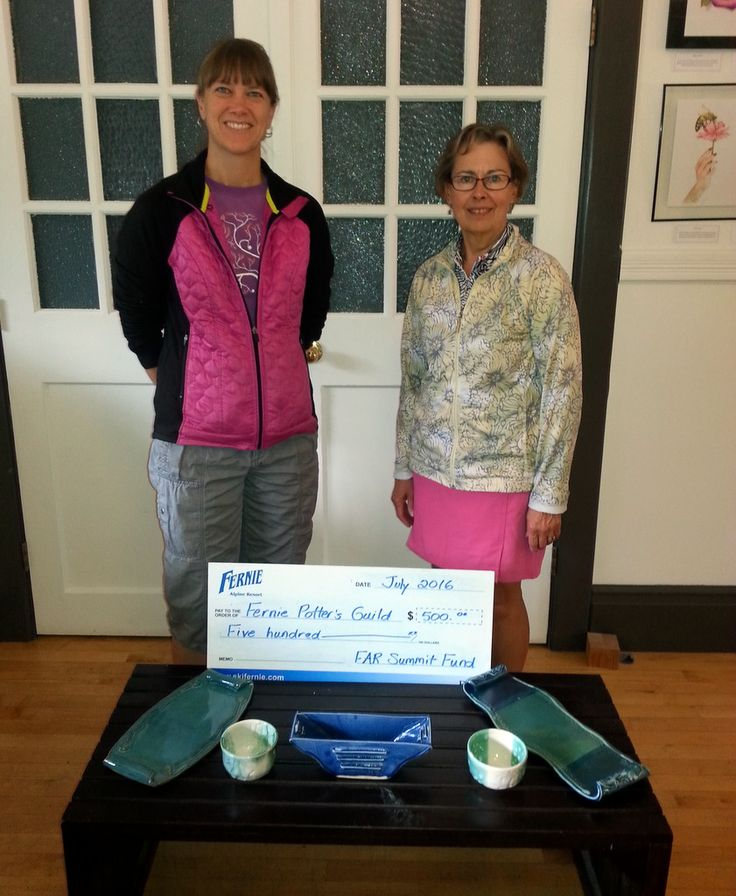 The Fernie Alpine Resort Summit Fund is a proud supporter of the Fernie Potter's Guild, with a recent $500 towards the purchase of a new kiln. Shown in photo: Karen Pepper from Fernie Alpine Resort and Chris Stock from the Potter's Guild.