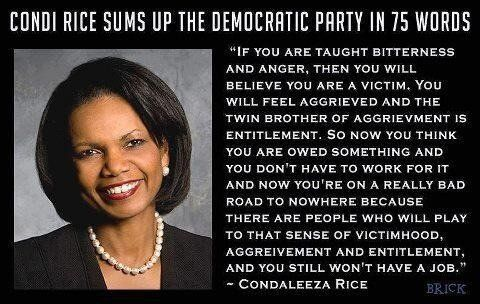 Condoleeza Rice describes the democrats, funny, humor, epic win, african-american woman, bush, tyranny, obamacare Obama is a Socialist
