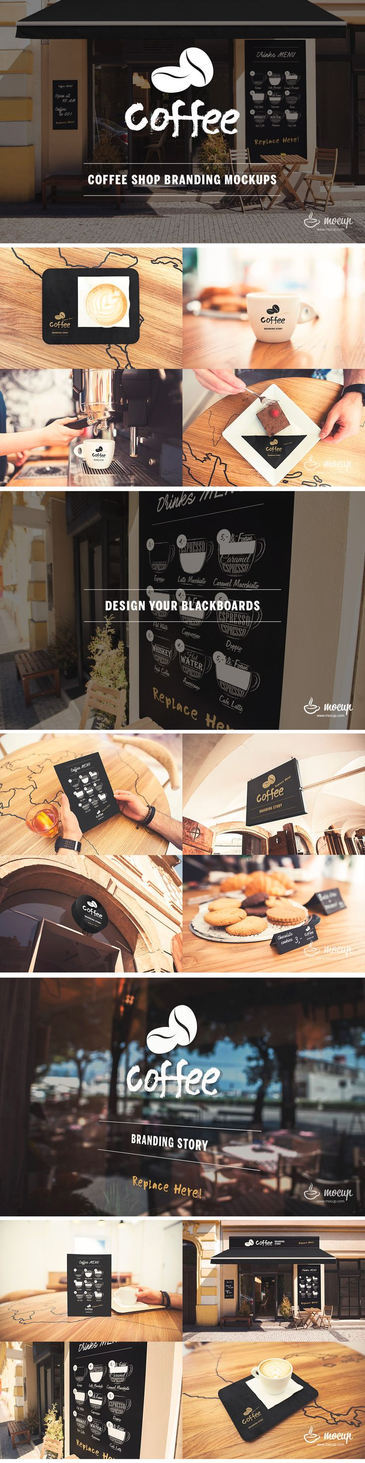Design your own café. This concept is created for branded the coffee shop or café which contains 13 editable PSD's for your preview, advertising designs and show your work. Easy to use because of smart layers. Ready to present your work. Enjoy it!