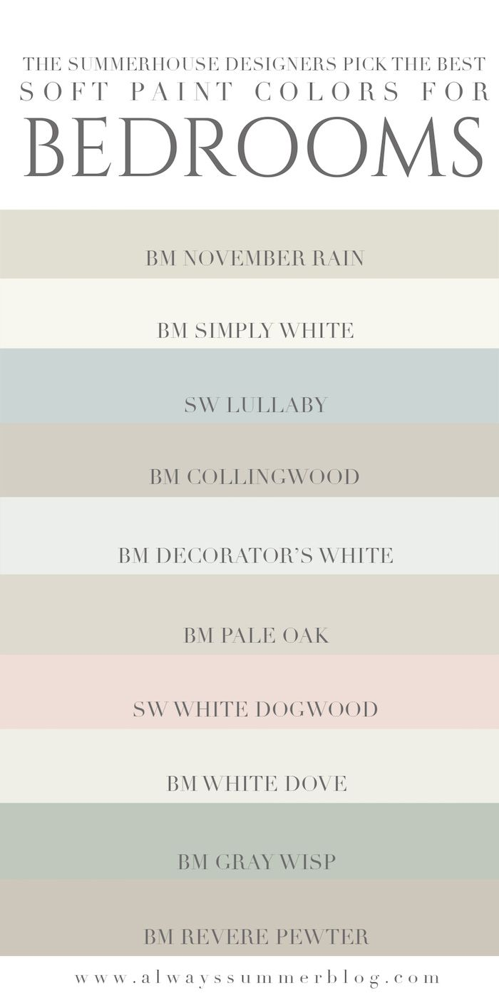 The SummerHouse designers weigh in on their favorite light paint colors for bedrooms // alwayssummerblog.com
