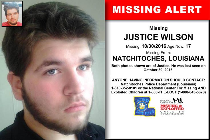 JUSTICE WILSON, Age Now: 17, Missing: 10/30/2016. Missing From NATCHITOCHES, LA. ANYONE HAVING INFORMATION SHOULD CONTACT: Natchitoches Police Department (Louisiana) 1-318-352-8101.