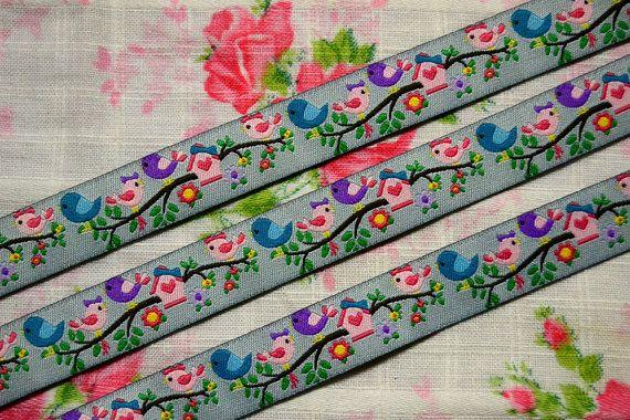 Bird Ribbon  Sewing tape 1 meter 16mm by TaikalandiaSupplies