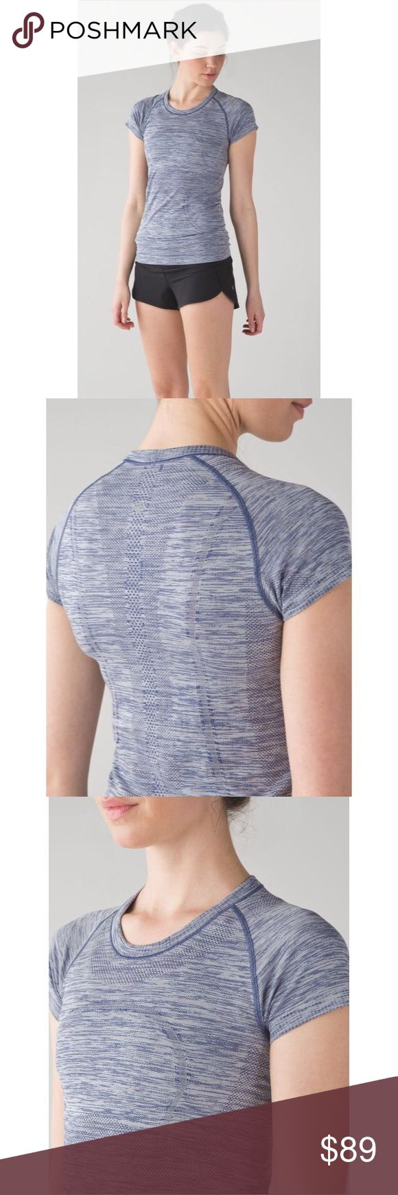 Lululemon Swiftly Tech Short Sleeve Crew-Blue, 6 Lululemon Swiftly Tech Short Sleeve Crew-Blue, Size 6  Brand new with tag! ☺The color is Heathered Blue. Made of Nylon/Poly. Release date, August 2016. Sorry, I don't trade.   Length-27 inches  Bust- 31 inches (15.5 inches across) Material- Nylon/Poly lululemon athletica Tops Tees - Short Sleeve
