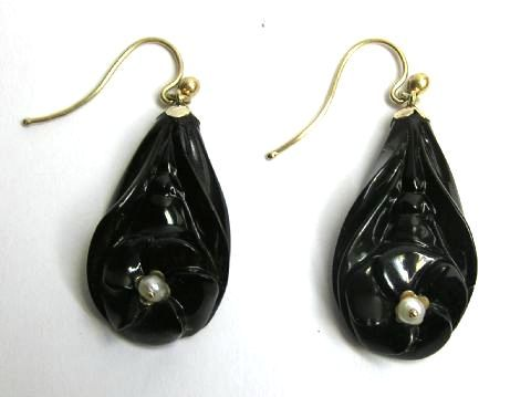 Victorian jet and pearl drop earrings