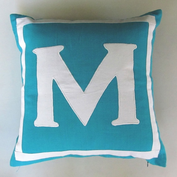 Letter M turquoise blue and white by Comfyheavenpillow