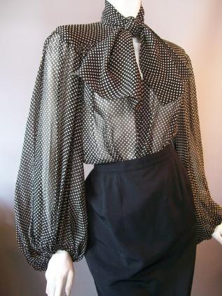 Sheer polka dot silk 80s blouse by Yves St Laurent, YSL Rive Gauche.