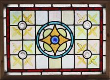 Antique Stained Glass Window Eight color Ruby Borderd Hand Blown Rondelles