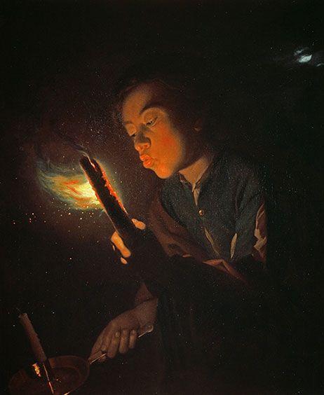 Godefridus Schalcken: Junge, in eine Fackel blasend, 1692-1696, Öl auf Leinwand
