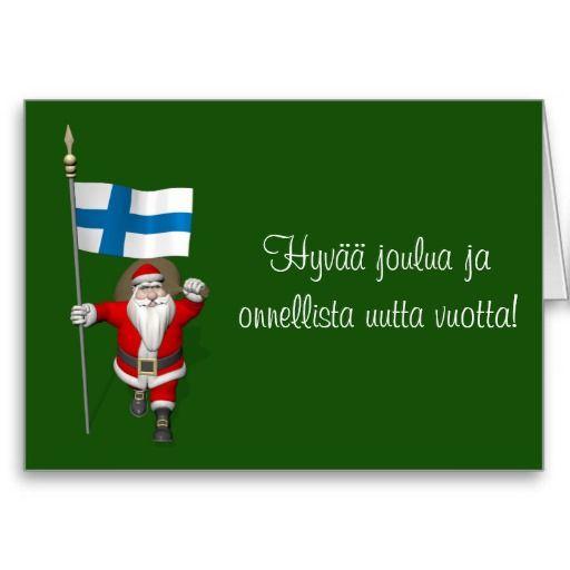 Funny Santa Claus With Ensign Of Finland Suomi - Hyvää joulua ja onnellista uutta vuotta!