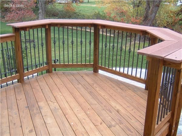 Deck Rail Design Incorporates A Bar Top With A Wide Ledge