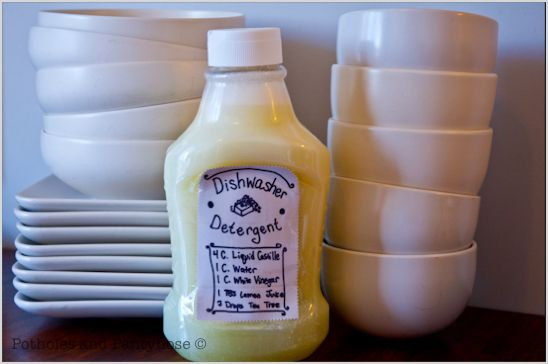 DIY Organic Dishwasher Detergent:  4 C Liquid Castille Soap, 1 C White Vinegar, 1 C Water, 1 Tblsp Lemon Juice & 1 tsp Tea Tree Oil.  Store in the refrigerator.  I can't wait to try this - since I'm NOT in-love with the powdered version I made...