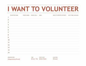 Volunteer sign-up sheet - Templates