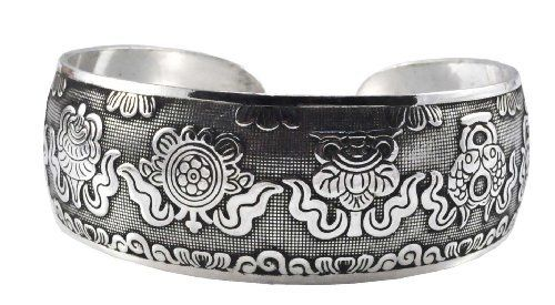Eight Auspicious Signs White Metal Tibetan Cuff Bracelet, #43 Hinky Imports. $16.99. Adjustable Size: One Size Fits All. Hand Crafted By Nepalese Artisans. Made from Alloy. Chakra Balancing Protection From Negative Influences. Width: 1 Inch