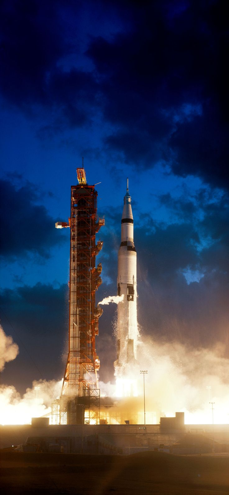 S67-50903 (9 Nov. 1967) --- The Apollo 4 (Spacecraft 017/Saturn 501) space mission was launched from Pad A, Launch Complex 39, Kennedy Space Center, Florida. The liftoff of the huge 363-feet tall Apollo/Saturn V space vehicle was at 7:00:01 a.m. (EST), Nov. 9, 1967.
