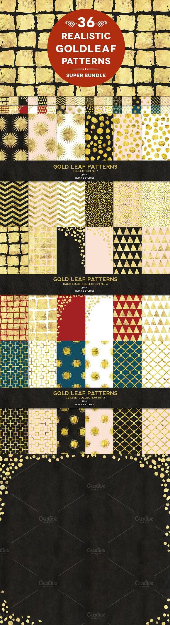 36 Gold Leaf Patterns Super Bundle. Patterns