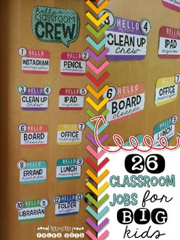 """8/13/16 UPDATE***An EDITABLE FILE to create your OWN personal cards by typing into a PPT file has been added!!***These """"Hello, My Name Is..."""" Classroom Job tags are PERFECT for the upper elementary and middle school classrooms!The colors work perfectly with any color scheme or classroom theme, and have """"cool"""" job titles that any student would be proud to claim!There are 26 Different """"Big Kid"""" Classroom Jobs:LibrarianErrand RunnerLunch ManagerFolder StufferPencil SharpenerClean Up…"""