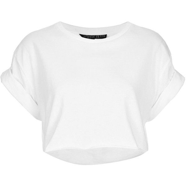 TOPSHOP Petite Roll Back Crop Tee ($10) ❤ liked on Polyvore featuring tops, t-shirts, shirts, crop tops, white, petite, crop tee, crop shirts, cotton tee and white crop top