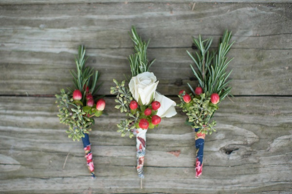 rustic boutonnieres with rosemary. Instead of red, use blue to match