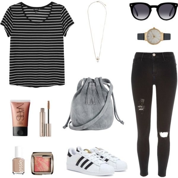 Spring 2015 nr. 1 by esther-monshouwer on Polyvore featuring Monki, River Island, adidas, Warehouse, Olivia Burton, Topshop, NARS Cosmetics, Hourglass Cosmetics, Laura Mercier and Essie