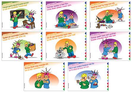 Jong geleerd is oud gedaan! Dat geldt ook voor sociale vaardigheden. Want ook in de kleuterschool wil je toch graag een aangename sfeer creëren? Dirk en Dolly helpen daarbij. Zij geven peuters en kleuters tips om op een aangename manier met elkaar om te gaan. De posters behandelen thema's als beleefdheid, orde en netheid, ruzie, pesten, sociale omgang, anders-zijn, respect...