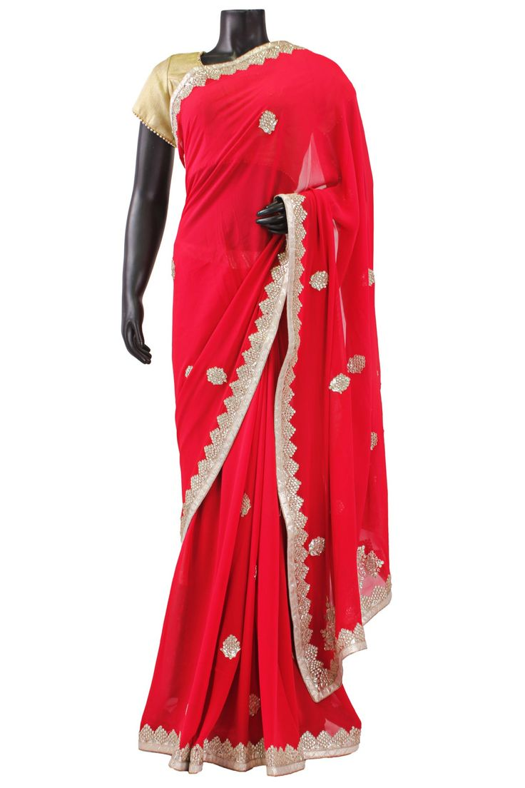 #Red Georgette Saree with Gold Border with #kundan work- SR4530