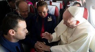 Pope Francis weds Couple Mid-Flight   Pope Francis conducted a wedding ceremony during a flight from Santiago Chile between Paula Podest 39 and Carlos Ciufardi 41.  He offered to marry the couple who work as flight attendants after hearing that they never got to have a Catholic Church wedding.  Podest and Ciufardi have been civilly married since 2010 but when the February 27 earthquake of same year damaged the church in which they were due to marry they didnt go through with the ceremony…