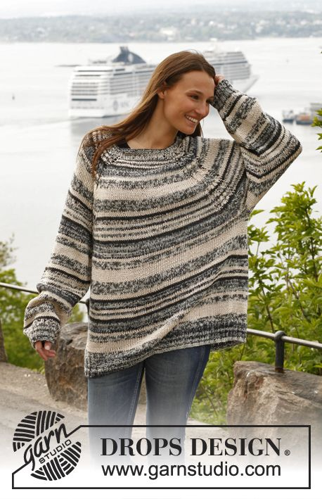 "Knitted oversized DROPS jumper with cables and raglan in ""Alpaca"", ""Fabel"" and ""Cotton Viscose"". Size: S - XXXL. ~ DROPS Design"