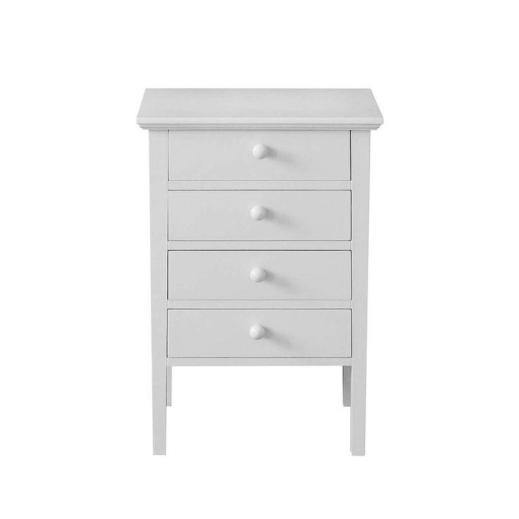 Baxter Grey 4 Drawer Bedside Table | Dunelm