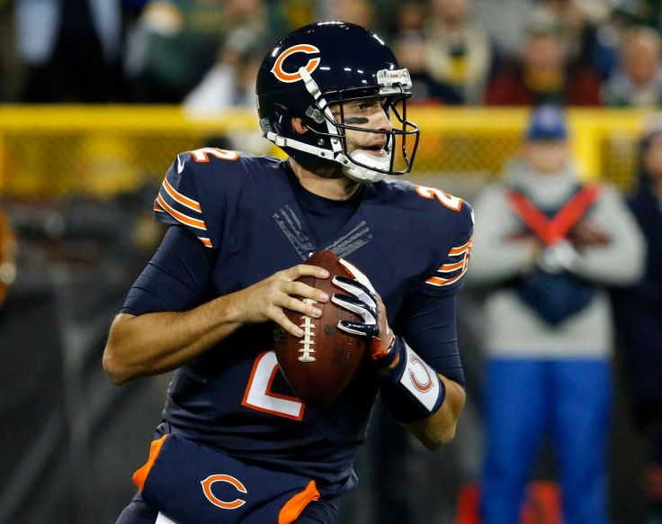 Thursday Night Football: Bears vs. Packers  -  October 20, 2016  -  26-10, Packers  - Chicago Bears quarterback Brian Hoyer (2) drops back as he looks for a receiver during the first half of an NFL football game against the Green Bay Packers, Thursday, Oct. 20, 2016, in Green Bay, Wis.