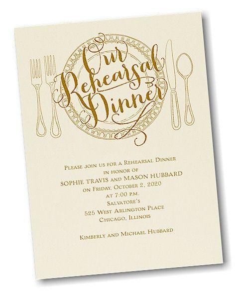 Dinner Classic Rehearsal Dinner Invitation