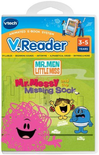 V.Reader Animated E-Book Cartridge - Mr. Men/Little Miss by V Tech. $16.88. VTech's V.Reader Animated E-Book System takes you Dillydale, your child puts their detective cap on. Helps solve the case of Mr. Messy's missing sock as well as learn sounds, syllables, rhyming and more. Original story featuring 3 of the most popular Mr. Men Little Miss characters (Mr. Messy, Mr. Bump and Little Miss Sunshine). Animations bring the characters and the story to life. Mini-Dictionary teac...