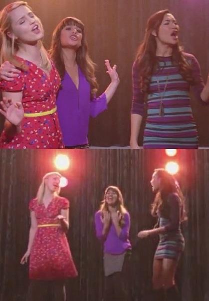 "Glee - Quinn/Rachel/Santana singing "" Love Song"""