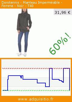 Dorotennis - Manteau Imperméable - Femme - Noir - T40 (Vêtements). Réduction de 60%! Prix actuel 31,96 €, l'ancien prix était de 79,90 €. http://www.adquisitio.fr/dorotennis/manteau-imperm%C3%A9able-femme-8