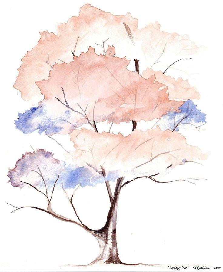 Aquarelle De L Arbre De L Amour 5 3 10 Baum Kleines Aquarell