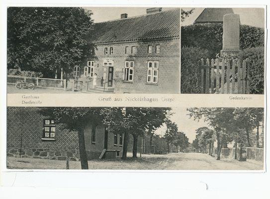 Nickelshagen, Gasthaus, Dorfstraße, Gedenkstein