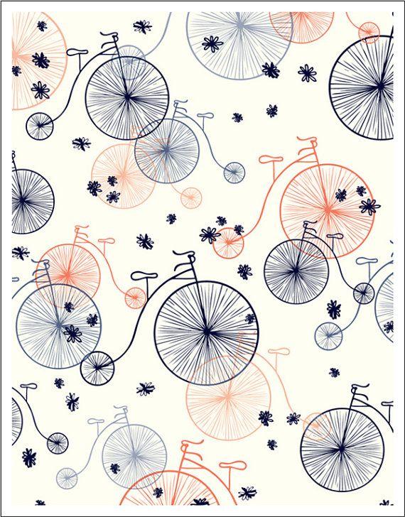 CAFE DU MONDE X 11 Fine Art Cotton Rag Print Vintage Bikes Would Be Super Cute As A Little Girl Skirt
