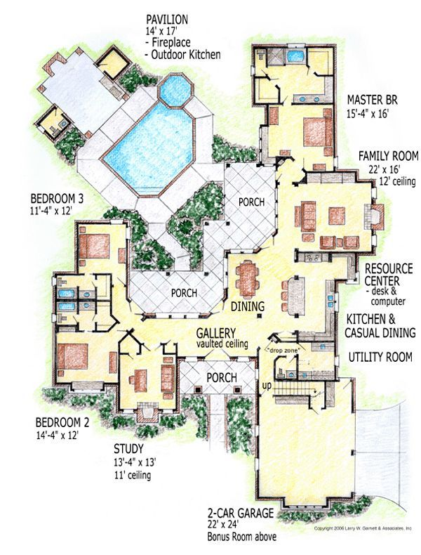 European House Design Plan: First Floor Plan Of European House Plan 56541