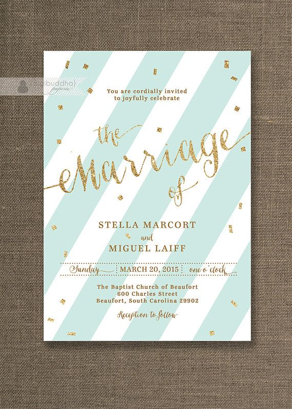 Seafoam Green & Gold Wedding Invitation Stripes with Gold Glitter Confetti Sprinkle Modern Printable Digital or Printed- Stella Style