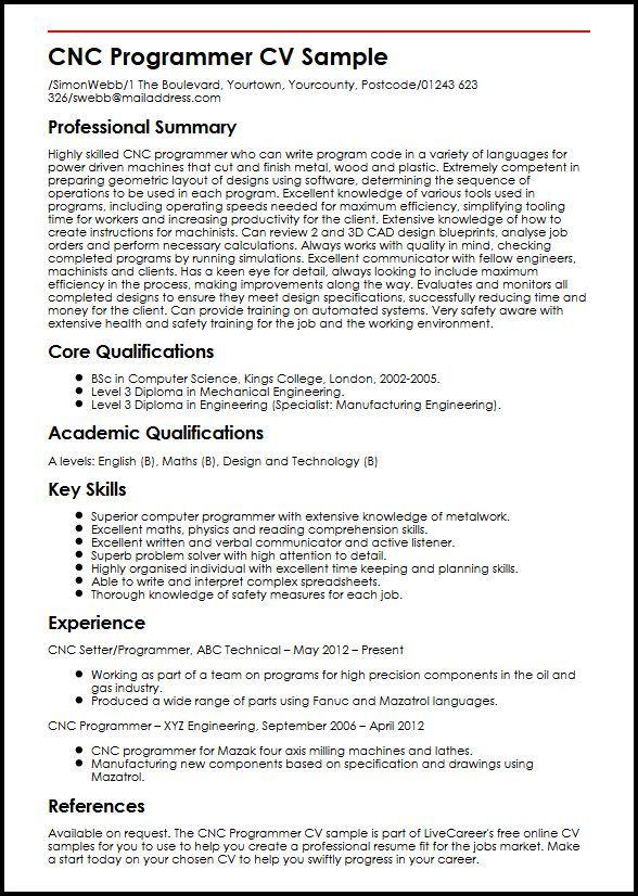 Cv Builder Cnc Programmer Cv Sample Myperfectcv Ab476fef Resumesample Resumefor Job Resume Samples Cnc Programmer Resume