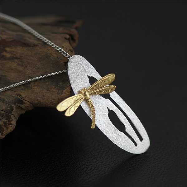 Dragonfly Silver Necklace @ Fig & Wattle #jewellery #jewelry #creatures #bee #honeybee #lovebird #butterfly #owl #hoot #bird #parrot #cobra #cat #dragonfly #silver #handmade #sterlingsilver #figandwattle