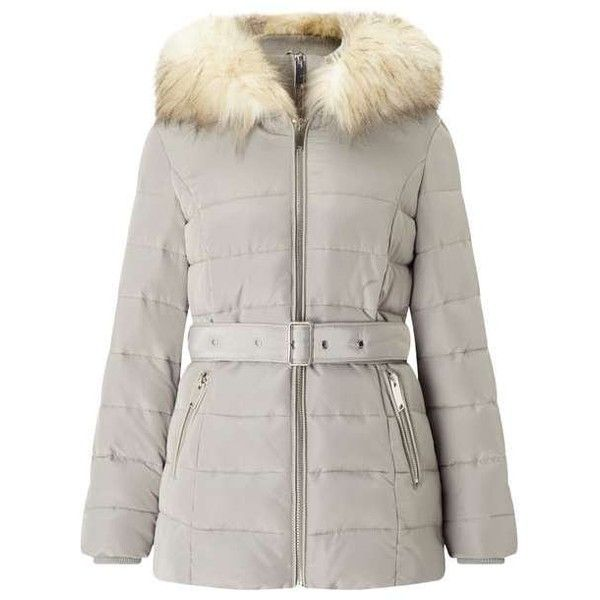Silver Belted Puffer Coat (2,015 EGP) ❤ liked on Polyvore featuring outerwear, coats, miss selfridge coat, puffer coat, puffy coat, brown puffer coat and miss selfridge