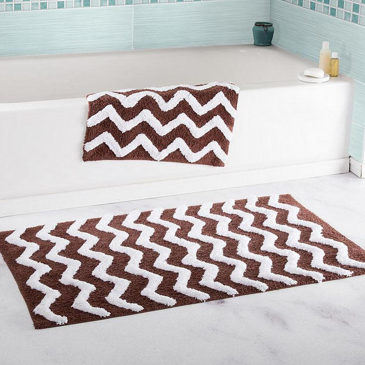 Trademark Global Lavish Home 100% Cotton Chevron 2-piece Bathroom Mat Set -