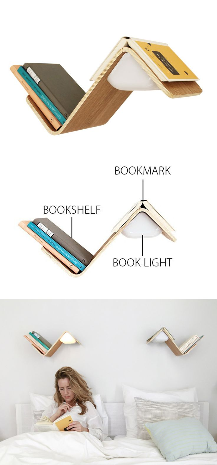 A bookshelf, a reading light or a bookmark?     Lilite: the ultimate bedside lamp for readers​, is the solution for all the above!  When you pull your book from the wooden peak a sensor automatically turns the lamp on. So Clever, SHOP it now!