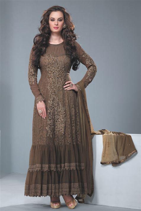 Super Stylish Evelyn Sharma Chocolate Net Party Wear Anarkali Suit