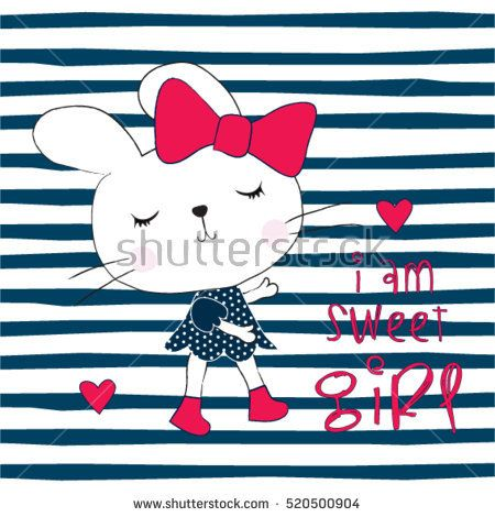 cute bunny girl on striped background,  Happy Easter pattern, T-shirt graphics for kids vector illustration